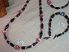Magnetic Hematite beads in silvery-black with Cats' Eye beads between them. Available in lots of colours. Necklace $34.00 Bracelet $20.00